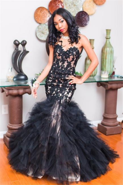 Glamorous Mermaid Sweetheart Black Evening Dresses  Tulle Sleeveless Prom Dresses