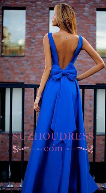 Floor Length Elegant Open Back  Evening Gown Bowknot Royal Blue Prom Dresses