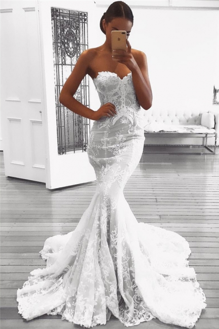 Mermaid Lace Wedding Dresses with Court Train | Strapless Sexy  Bridal Gowns