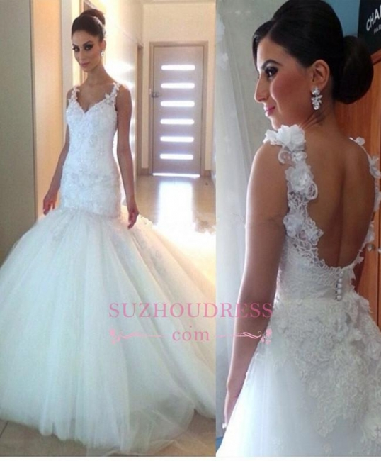 Tulle Mermaid Buttons Open Back Wedding Gowns  V-Neck Elegant Appliques Wedding Dress