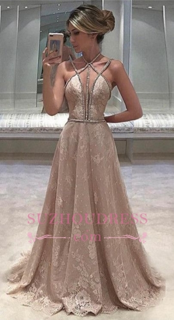 Lace Sexy Straps Beaded Prom Dress  Open Back Sleeveless Long Evening Dress