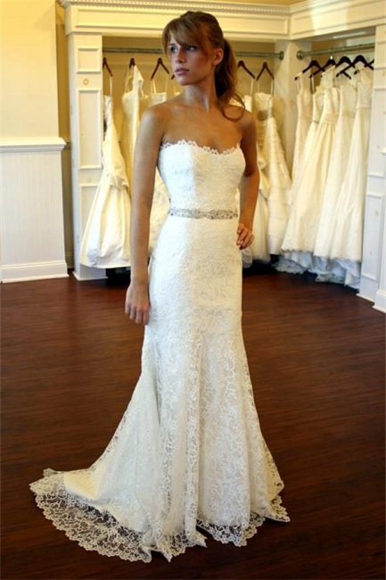 Lace Country Wedding Dress Strapless Sheath Summer Beach Wedding Gowns with Crystals Belt BA8083