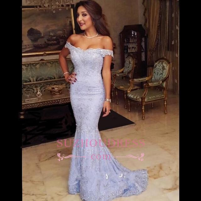 Modest Off-the-shoulder Evening Dress  Mermaid Sweep-Train Lace Prom Dress