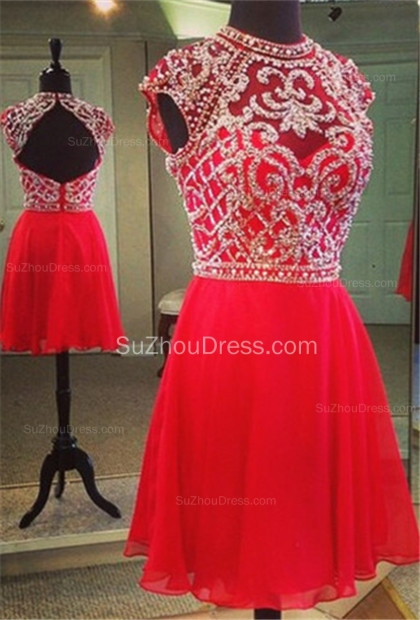 Mini A-Line Jewel Red Cocktail Dresses  Cap Sleeve Beadings Homecoming Dresses