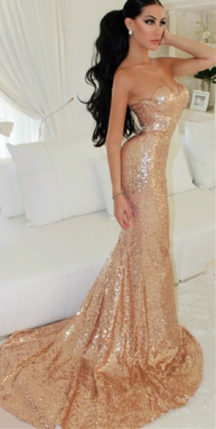 Sweetheart  Sparkling Long Evening Dress Sexy Mermaid Sequined Popular Dresses for Special Party