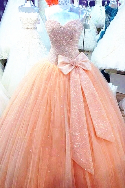 Sweetheart Sparkly Prom Dresses Tulle   Evening Ball Gowns with Bowknot CJ0010