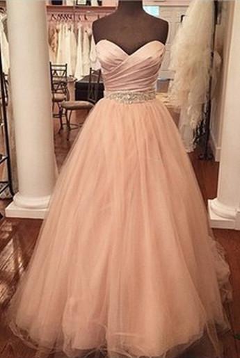 A-Line Sweetheart Crystal Tulle Long Prom Dress Ruffles Beadings Floor Length Dresses for Women