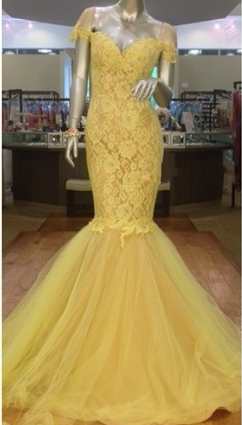 Yellow Lace Off Shoulder  Evening Dress Mermaid Puffy Tulle Skirt Prom Dress CE002