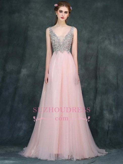 Pink Luxury A-line Long Backless V-Neck Beaded Prom Dresses