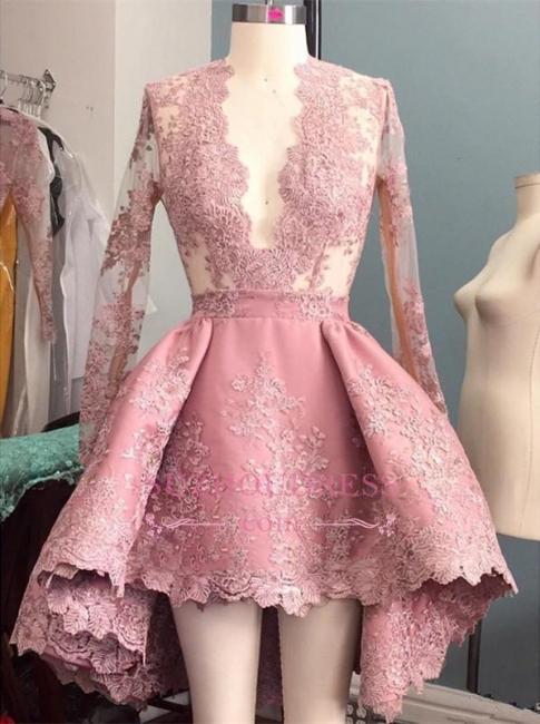 Hi-Lo Pink V-Neck Evening Dress  Long Sleeves Appliques Elegant Prom Dress