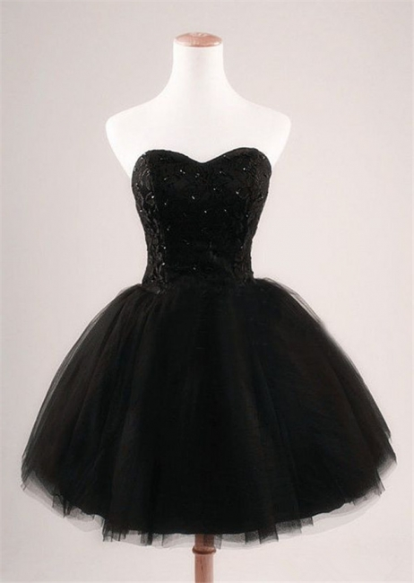 Cute Sweetheart Black Short Cocktail Dress Beading Tulle Lace-Up Mini Homecoming Dress CJ0389