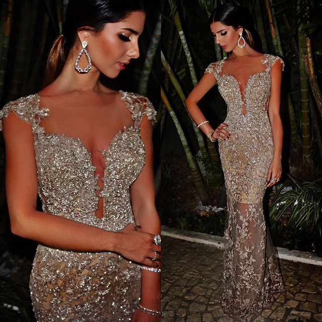 Sexy Sheath Evening Dresses  Sparkly Beaded Lace Appliques Evening Prom Dress For Summer