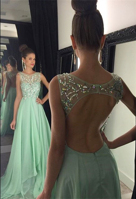 Crystal Halter Chiffon Long Prom Dress Latest Beading Backless Evening Gown GA001
