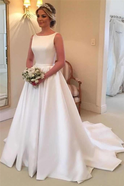 Elegant Satin Wedding Dresses  | Open Back Sleeveless Royal Wedding Dress