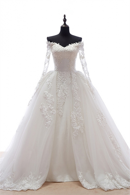 Long Sleeve Lace Wedding Dresses Off Shoulder Sheer Chapel Train Bridal Gowns