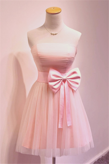 Cute Pink Bowknot Mini Cocktail Dress Strapless Short  Bridesmaid Dresses Under 100