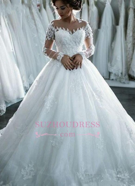 Long Sleeves Beaded Sheer Ball Gown Wedding Dress  Lace Bridal Dresses LY104