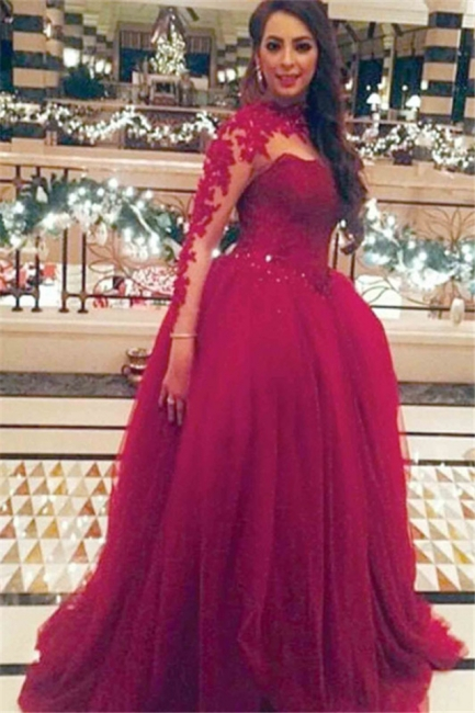 Red Long Sleeve Tulle Long Prom Dress New Arrival Floor Length Lace Special Occasion Dresses TB0152