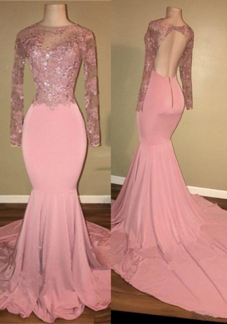 Pink Mermaid Long Sleeves Prom Dresses   Backless Prom Dresses  BA7912