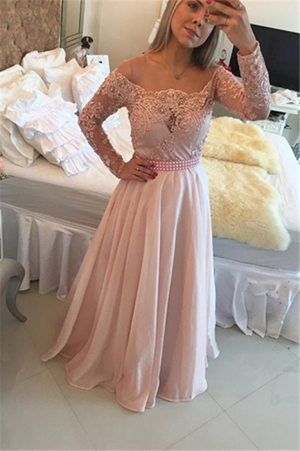 Latest Pink Long Sleeve Evening Gown A-Line Lace Chiffon  Prom Dress BA5532