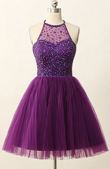 Purple Halter Crystal Mini Dresses A-Line Tulle  Homecoming Gowns