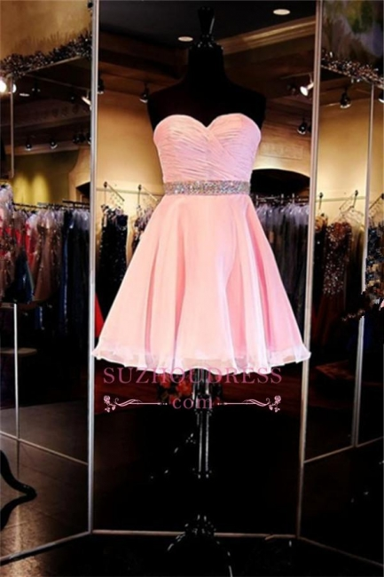 Ruffles Sweetheart Crystal Short Simple A-Line  Homecoming Dress