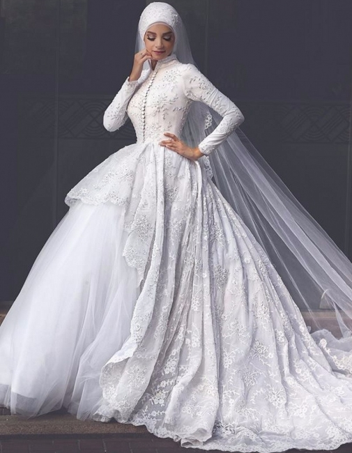 Affordable Lace Long-Sleeves Muslim Wedding Dresses High Neck Bridal Gowns Online