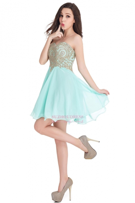 Sweetheart Cheap Mini Short Appliques Homecoming Dresses