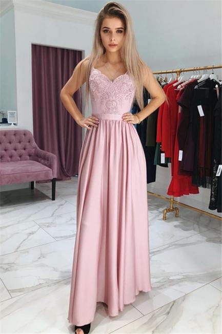 Simple Pink Sleeveless Evening Dresses    Appliques Side Slit A-Line Prom Dress