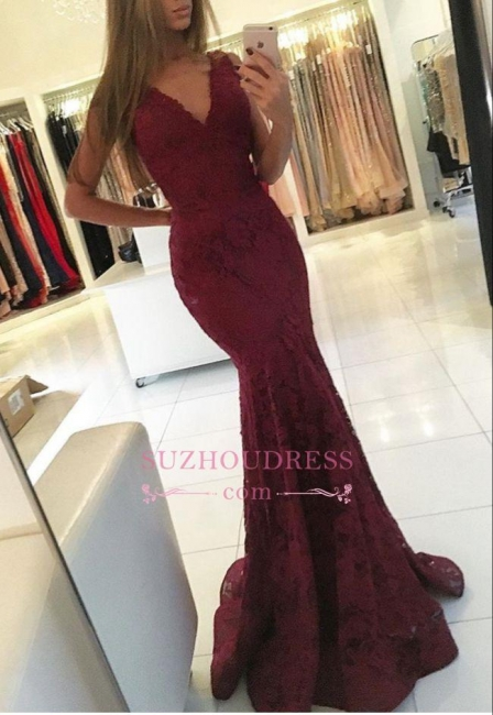 Sleeveless Mermaid Newest Lace Burgundy Formal Dresses  Sweep Train V-neck Prom Dress BA6827