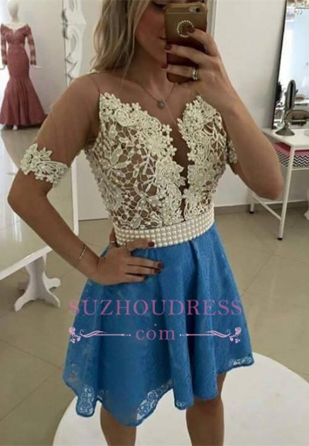 Gorgeous Short Sleeve Lace Pearls Homecoming Dress