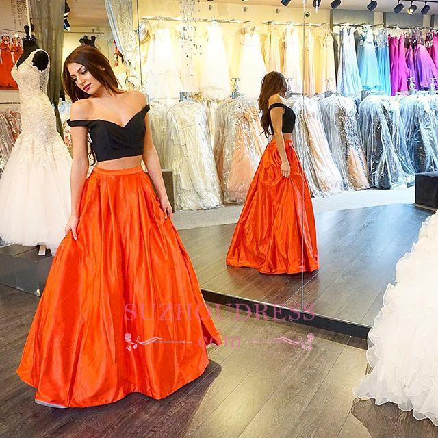 Off-the-shoulder A-line Two-Piece Long Sexy Prom Dress