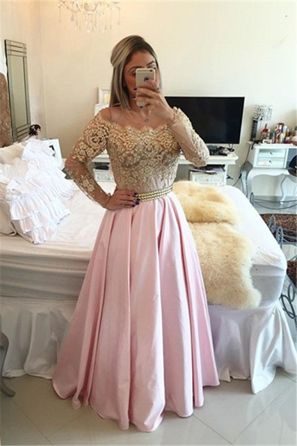 Sparkly Beading Lace Prom Dress Long Sleeve Lace Formal Occasion Dress BA1867