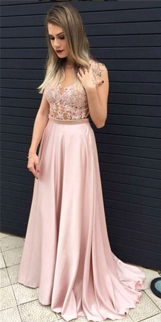 Blushing Pink Long Prom Dress Illusion Pearls Belt Evening Dresses