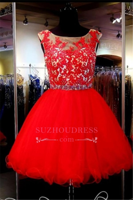Mini Red Tulle A-Line Sleeveless Appliques Short Homecoming Dress
