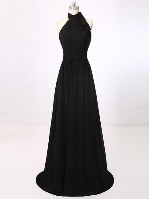 A-Line Black Halter Summer Party Dresses Simple Chiffon Long Prom Dress