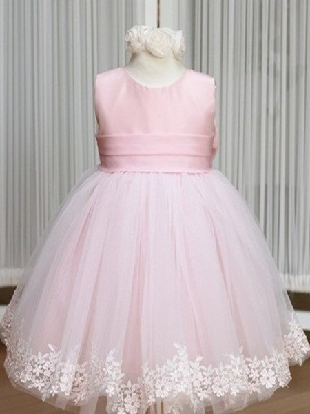 Pink Flower Girl Dresses Jewel Bow Sash Lace Appliques Lovely Tulle A Line Pageant Dress