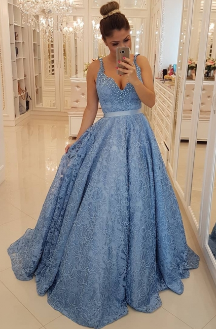 Popular V-neck Lace Sexy Evening Dresses  | Sleeveless Beading Straps  Prom Dresses BMT309
