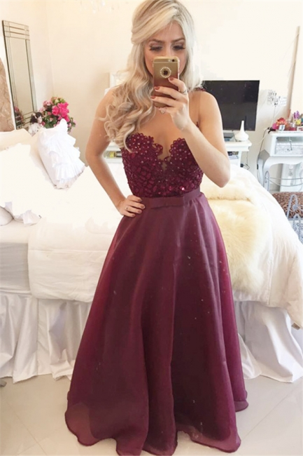 New Arrival Sweetheart Burgundy Long Prom Dress Sleeveless Bowknot Chiffon Beadings Evening Gowns BMT021