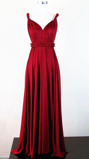Classic Red V-neck Latest Prom Dresses with Sash for  Wedding Bridesmaid Dresses