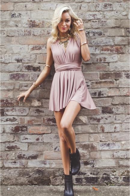 Simple V-Neck A-line Homecoming Dresses  Sleeveless Open-Back Hoco Dresses