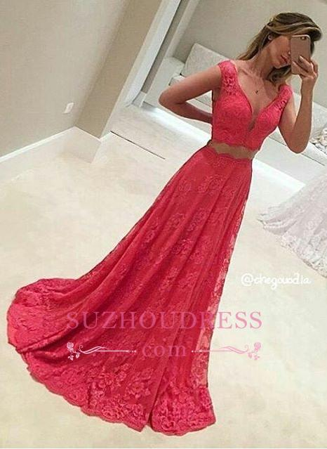 Lace Sleeveless Red Two-Piece V-Neck Long Mermaid Prom Dresses BA8080