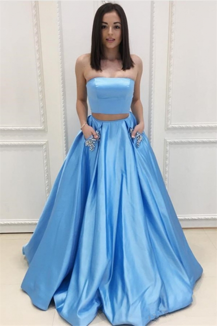 Two Pieces Prom Dresses  | Strapless Long Formal Dresses SK0143