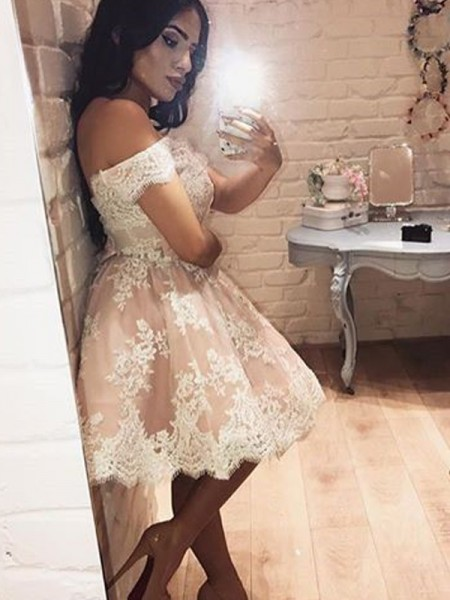 A-Line Appliques Pink Short Party Dress Mini Off The Shoulder Lace Homecoming Dress BA6520