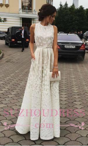 Scoop Gradient Sleeveless Evening Gowns  Charming Long Satin white Print Prom Dresses