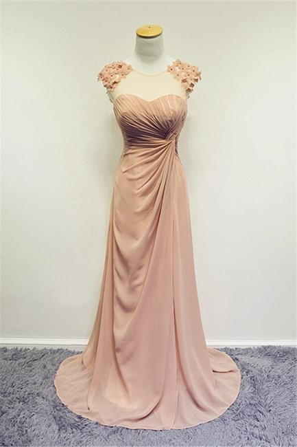 Formal Ruffled Chiffon Flower Long Prom Dress A-line Sweep Train Zipper Cute Evening Dresses