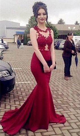 Lace Appliques Sexy Prom Dress | Mermaid Long Evening Gown  BA7934