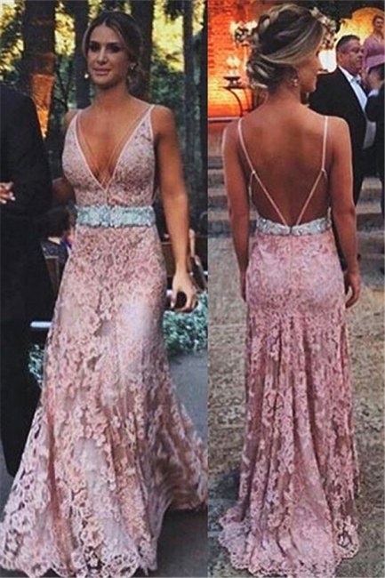 Blush Pink Lace  Evening Dresses Long Deep V-Neck Spaghetti Straps Open Back  Prom Dress BA3979