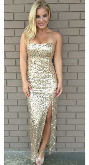 Golden Sequined  Sexy Long Evening Dresses with Side Slit Bridesmaids Dresses