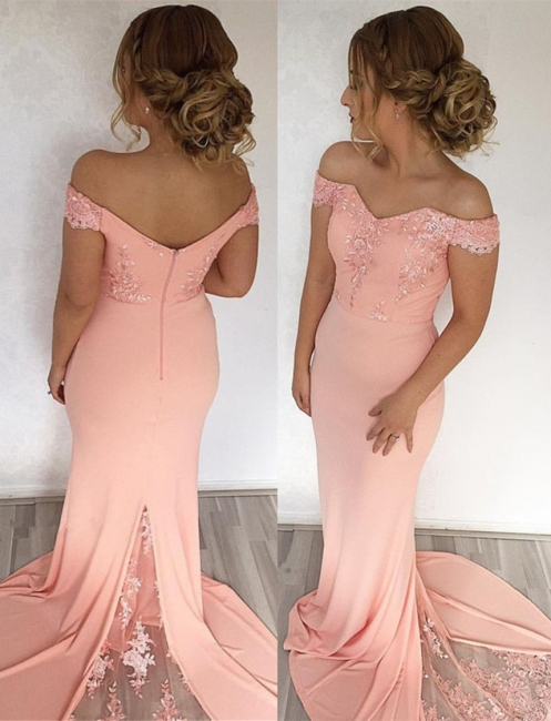 Off The Shoulder Pink Pretty Formal Evening Dress   Long Lace Prom Dress BA7759